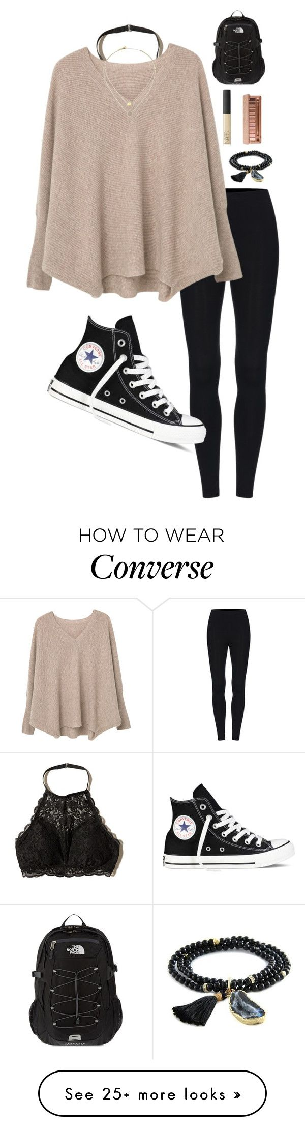 """""""Honestly I love thursdays idk why lol"""" by giannavozzella on Polyvore featuring Hollister Co., MANGO, Michael Kors, Converse, Ettika, NARS Cosmetics, Urban Decay and The North Face"""