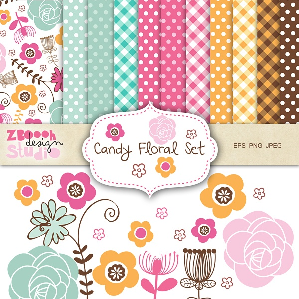 - lovely set of 11    digital    papers, 9 floral clip art design in stylish color combination with summer floral   designs,  this   set can be used as   embellishments for invitations,   cards,      stationery, scrapbooking etc.