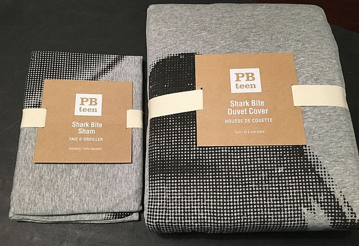 2 Pc Pottery Barn PB Teen SHARK BITE Twin Duvet Cover w/ 1 Standard Sham  #PotteryBarnTeen
