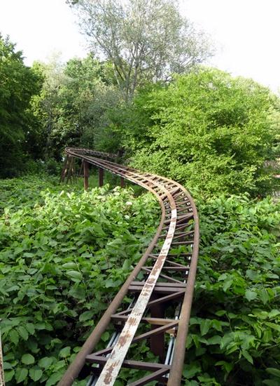 Spreeblitz roller coaster at abandoned Spreepark - Berlin