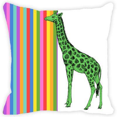 Leaf Designs Multicoloured Stripes Giraffe Cushion Cover Cushion Covers on Shimply.com