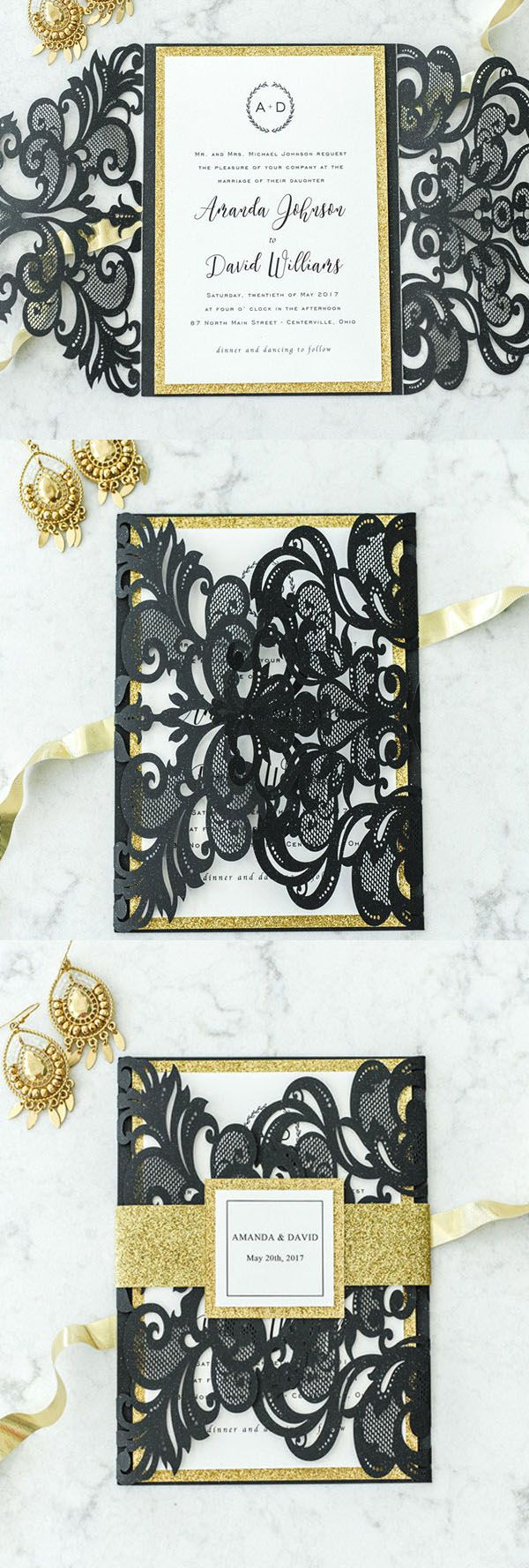 glam gold and black laser cut wedding invitation ideas#weddinginvitations#ElegantWeddingInvites