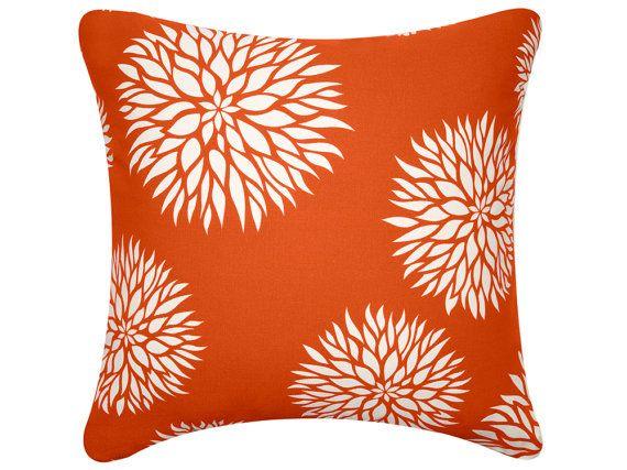 ON SALE-Dahlia Flower Orange Throw Pillow Cover Floral