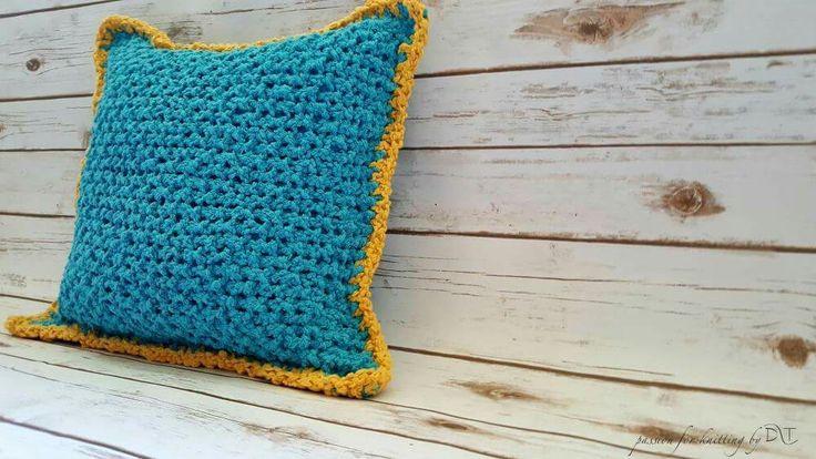 Aqua Blue Knitted handmade pillow by DLThandmade. Size 40x40 cm. https://www.facebook.com/DLThandmade/  #DLThandmade #passionforknitting #hoookedzpagetti