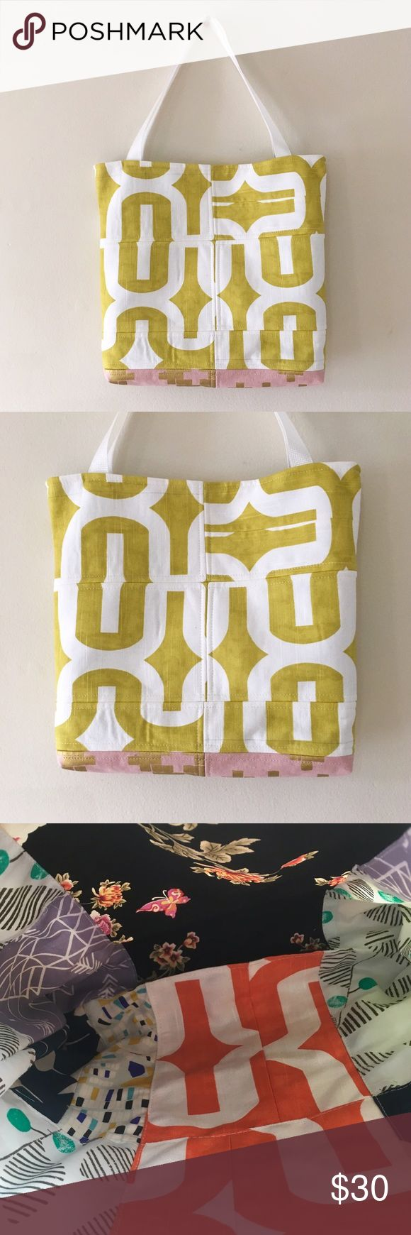 🆕Yellow and Pink Geometric Tote Bag - HANDMADE Cute tote bag made of different patterns made by my father. The dimensions are 13 inches tall by 15 inches wide. Fleece fusible to keep shape. The last photo is of the inside. Urban Outfitters Bags Totes