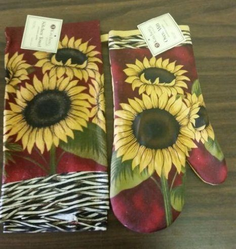The Pecan Man Terry Everyday KITCHEN TOWEL U0026 OVEN MITT Set Of 2* SUNFLOWERS  Red