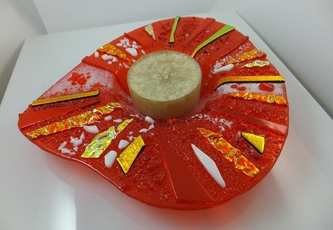 Orange Gold Candle Holder designed & Made by Cheryl Smith