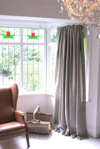 """Stunning Large/Huge/Long 90"""" L X113""""W Grey Taupe Linen Lined Curtains Bay Window 