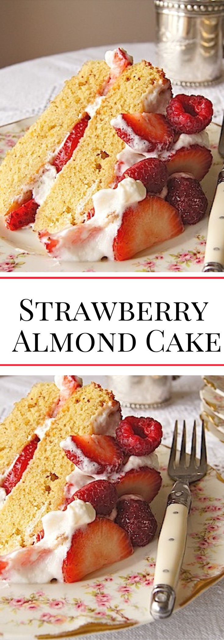 Strawberry Almond Orange Cake. A perfect dessert for spring parties, Easter, and Mother's Day.