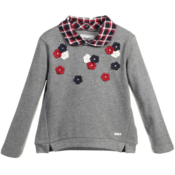 Girls very pretty grey sweatshirt by Mayoral Chic made from a mid-weight cotton jersey with a soft woven inside feel. With a relaxed fit it has pretty ivory, red and navy blue applique flowers on the front and subtle shimmer effect. The smart peter pan collar is fastened by buttons and can be taken off for a different look.<br /> <ul> <li>60% cotton, 40% polyester (soft sweatshirt jersey)</li> <li>Machine wash (30*C)</li> <li>Designer colour: Rose paste</li> <li>Small fitting with a relaxed…