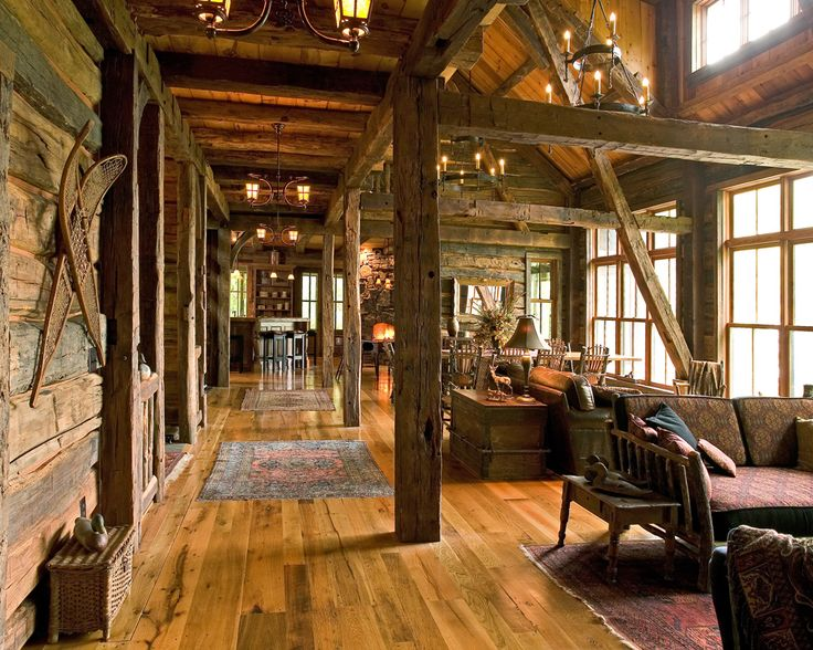 1000 images about log homes and timber frame homes on for Rustic cabin flooring