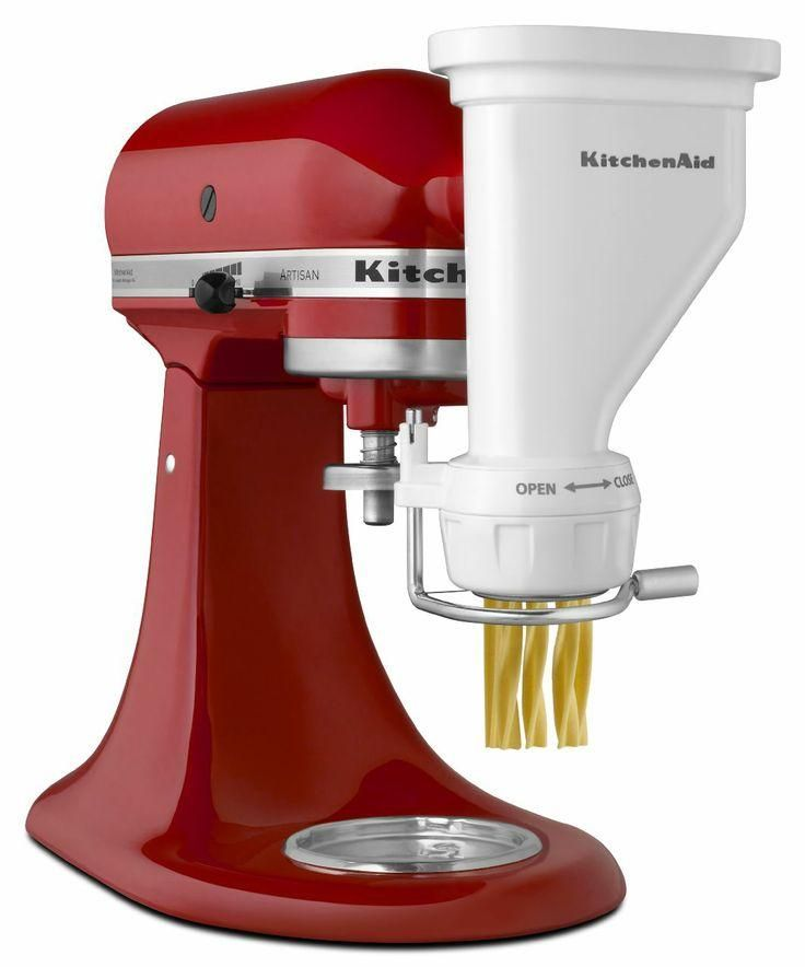 The KitchenAid® Pasta Press attachment self-feeds dough into the hopper and through the pasta plates. When the pasta reaches the desired length, simply slide the cutter across the plate to detach each series of noodles.