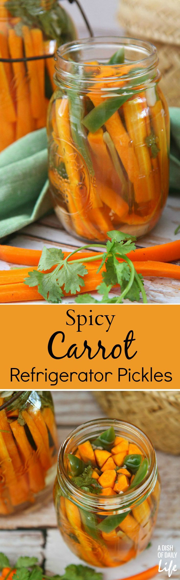 Like Mexican carrots? This spicy carrot refrigerator pickles recipe is easy to make, and will satisfy your hot spicy pickles craving! @DishOfDailyLife : Featured Post on Turn it up Tuesdays