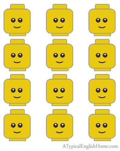 A Typical English Home: Freebie Thursday: Lego Party Printables.  Lego heads to slip over straws.