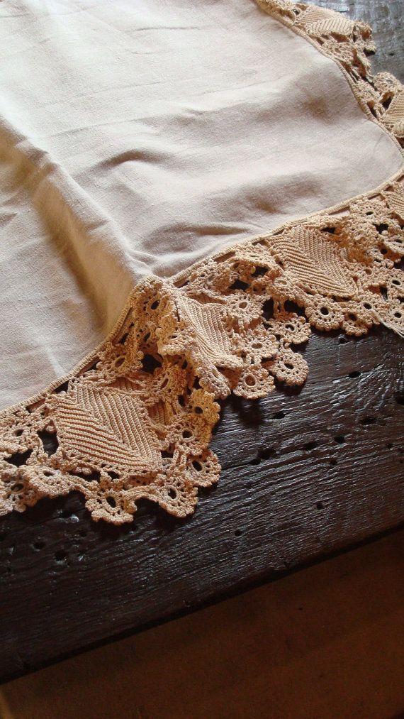vintage LINEN and crochet lace by SaffronColoredPony
