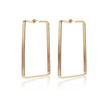 Gold tone square hoop earrings