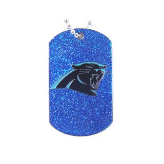 Add a little bling to your gameday outfit with this NFL Carolina Panthers Glitter Dog Tag. This dog tag comes with a silvertone, 24-inch chain. Team: Carolina Panthers Materials: Metal Chain length: 2