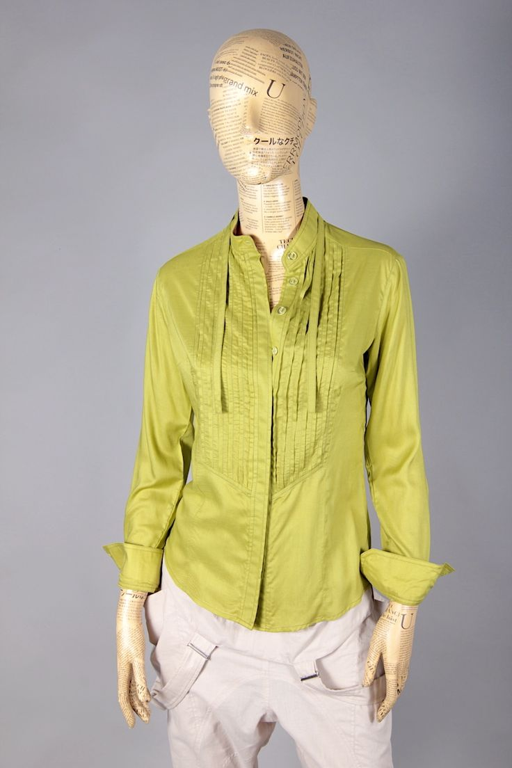 GREEN LIGHT SHIRT WITH FRILLS ON CHEST [MBA45] - 47.60EURO : www.madebyartist.ro - shop, www.madebyartist.ro - shop