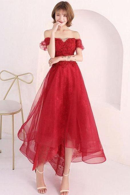 74ec3b2d63e red lace short prom dress