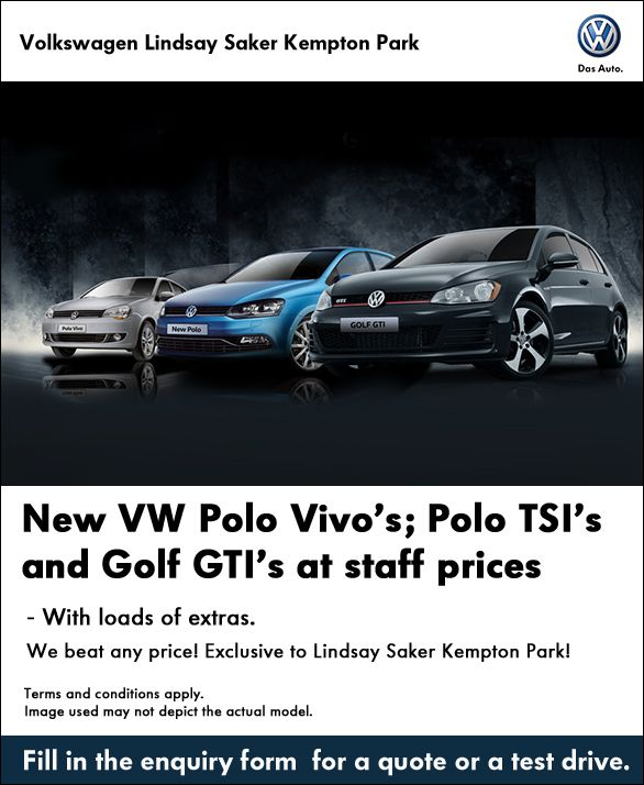 Pay Staff Price for a new VW Polo Vivo, Polo TSi, or Golf GTi!