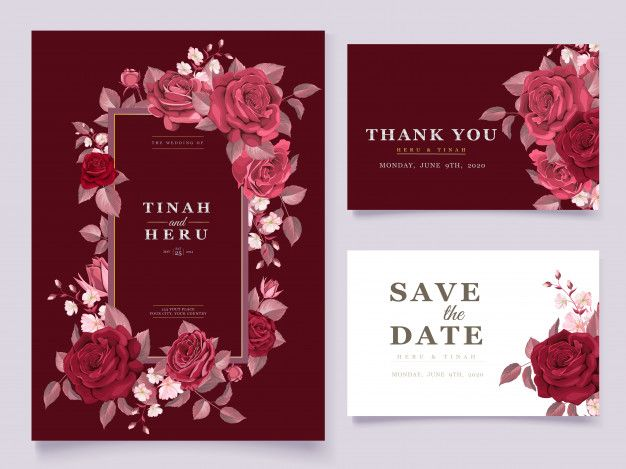 Download Elegant Wedding Card Template Set With Maroon Floral And Leaves For Free Free Wedding Invitation Templates Wedding Card Templates Wedding Cards