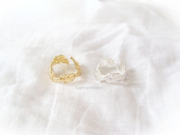 Blad Ring, verstelbaar blad ring, zilver ring van Superarmband op DaWanda.com