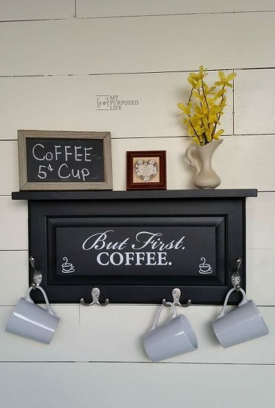 Beautiful repurpose of old cabinet doors into a decorative shelf and handy rack.