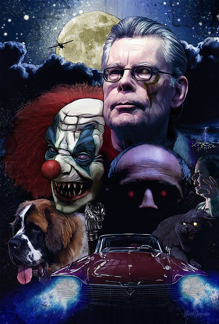Stephen King Poster, Vincent Tanguay - SaintGenesis on ArtStation at https://www.artstation.com/artwork/stephen-king-poster