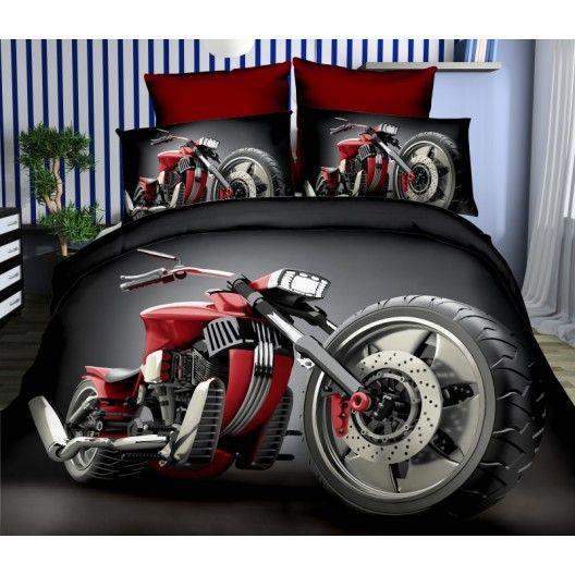 Čierne obliečky na posteľ z mikrovlákna s červenou motorkou