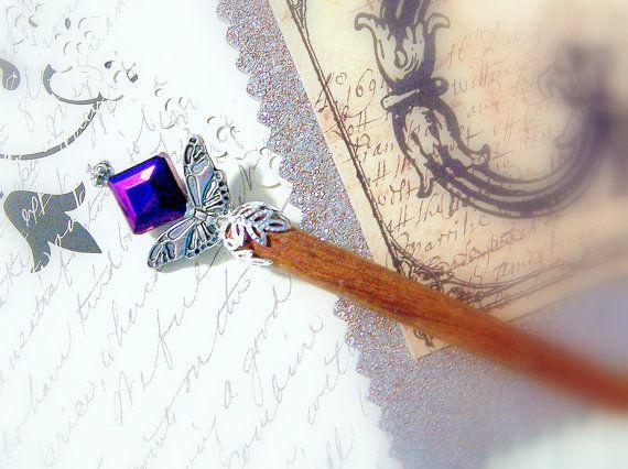 Deep Purple and Silver Iron Butterfly by GaffneyGirlStudio on Etsy,