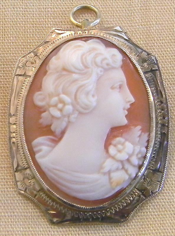 Victorian 10 KT Gold Carved Shell Cameo Pin Pendant with Fancy Engraved Frame              http://www.rubylane.com/item/494613-aj208-bg3392/Victorian-10-KT-Gold-Carved
