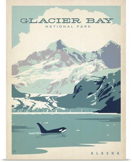 Glacier Bay National Park, Alaska - Retro Travel Poster--Even more beautiful in person!