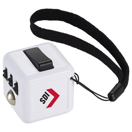 The Custom Fidget Cube is perfect for anyone who can't concentrate in class or meetings and needs to constantly fidget with something in their hand. This 6 sided cube allows you to click, glide, flip and roll with a convenient carrying strap.