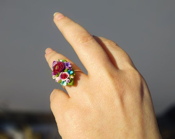 Flower ring Multicolored ring Jewelry rose Rose by jewelryNatalie