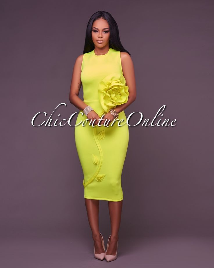 Chic Couture Online - Olympia Neon Yellow 3D Floral Design Midi Dress,(http://www.chiccoutureonline.com/olympia-neon-yellow-3d-floral-design-midi-dress/)