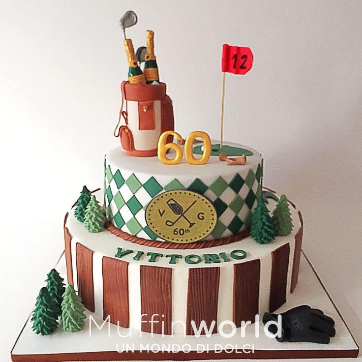 Torta di compleanno per uomo tema golf Golf man birthday cake
