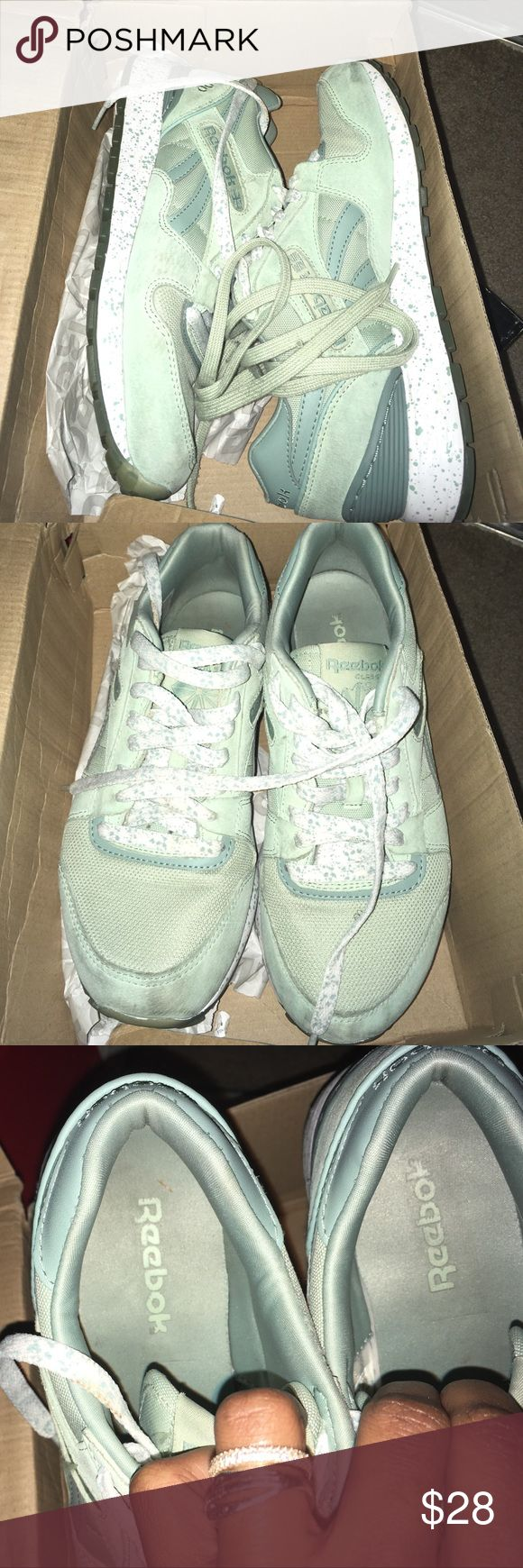 Rebook Suede Classics Green Reebok Classics! Interchangeable Shoes Strings. A Lot Of Wear, They Use To Be My Favorite Sneakers. A Couple Of Spots But Nothing A Good Washing Can't Fix! ❤ Reebok Shoes Sneakers