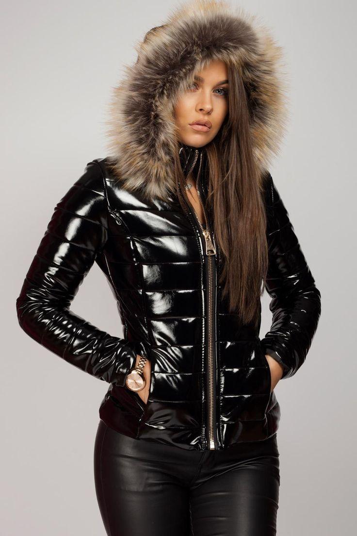 Wet Look Puffer Coat With Faux Fur Hood in 2020   Faux fur ...