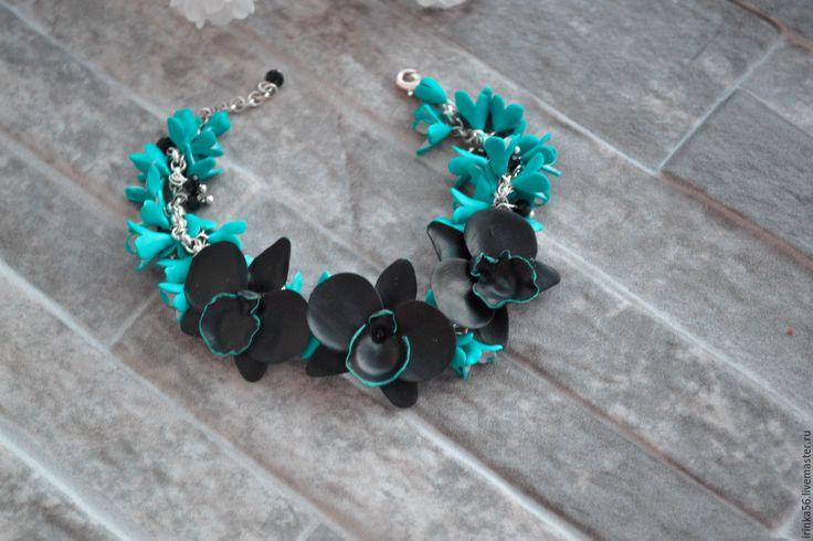 Купить Орхидеи.. - морская волна, черный, бирюзовый, браслет, украшение на руку, орхидеи, орхидея, цветы