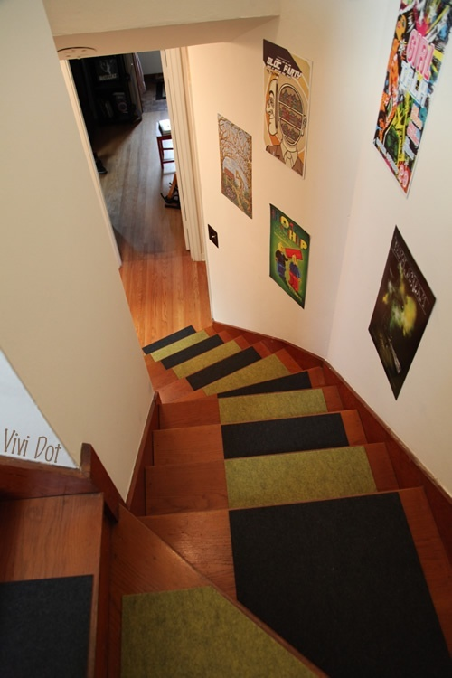 Look what you can do with carpet tiles make carpet stair for Rugs for basement floors