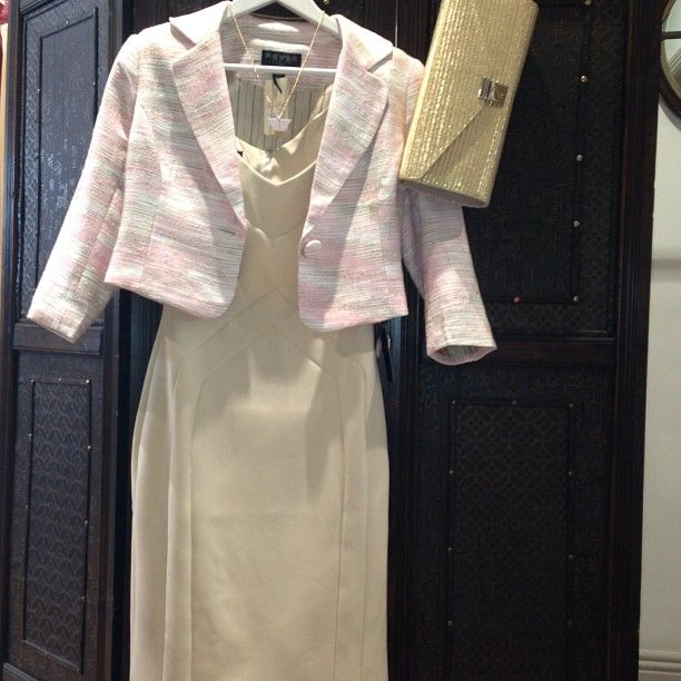 Lovely cream structured dress with # pretty pink Tweed Jacket and gold Clutch bag.Perfect for a wedding or special occasion. Check out http://bowandpearl.com/ to see more lovely piecesPhoto by lillyfunkfashion