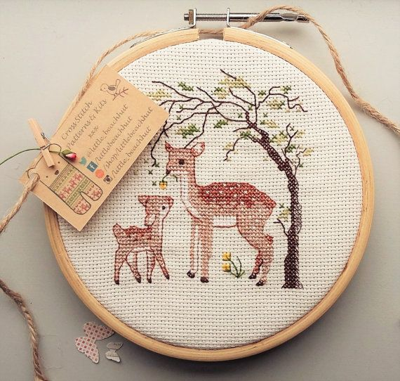 Digital download pattern to make a very cute Oh Deer cross stitch. This is ideal for any room in your house or a childs bedroom, once completed it