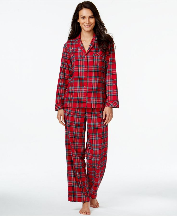 Charter club flannel notch collar top and pajama pants set for Robes de mariage petite macy