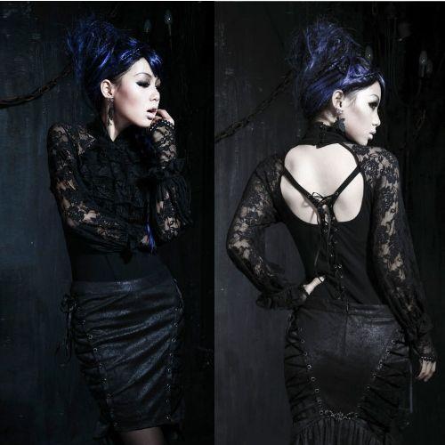 Unique Black Lace Gothic Burlesque Long Sleeve Shirts Tops Clothing Women SKU-11407145