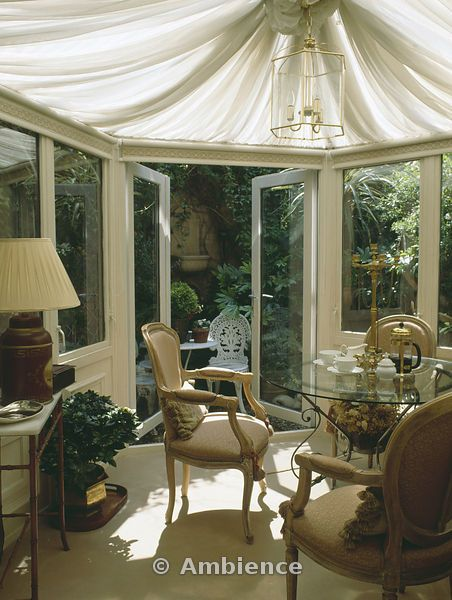 Fabulous idea for the conservatory, rather than the paper pleats which are everywhere!