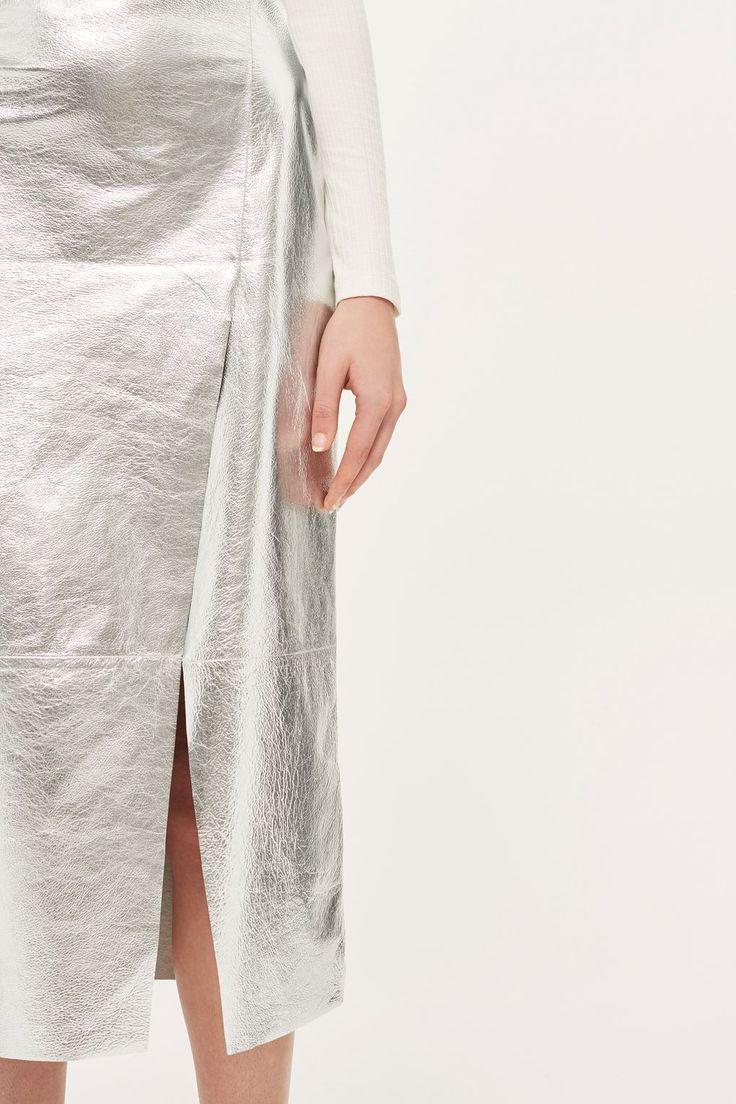 topshop // boutique foil asymmetric skirt