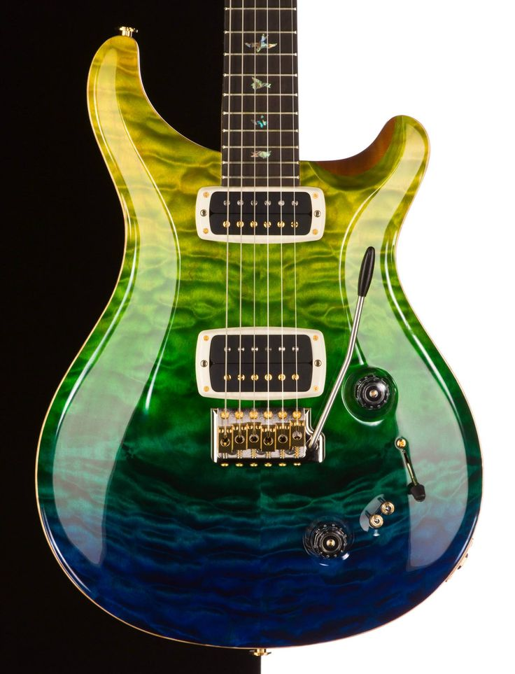PRS • guitar. gorgeous guitar to see today.  usually i see the blue ombre which is stunning, but this one is quite unique.plus it's Seahawk colors