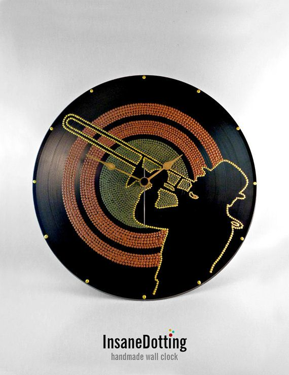 Trombone Vinyl Clock Jazz Hand Painted Brown by InsaneDotting