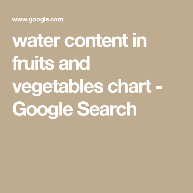 Water Content In Fruits And Vegetables Chart Google Search Restricted Fluid T Pinterest Vegetable