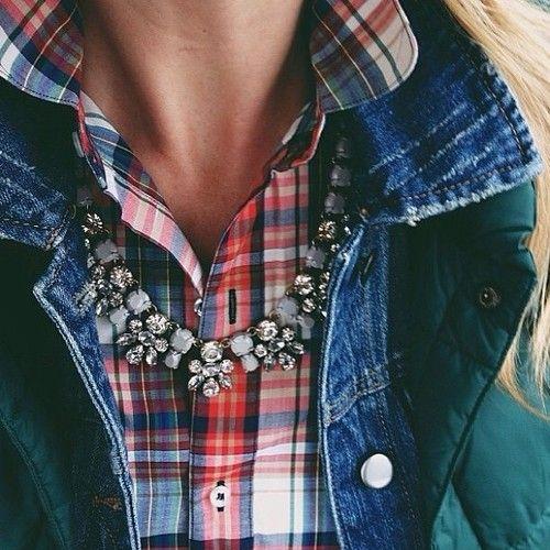 layers: plaid, denium jacket, vest over, necklace or scarf